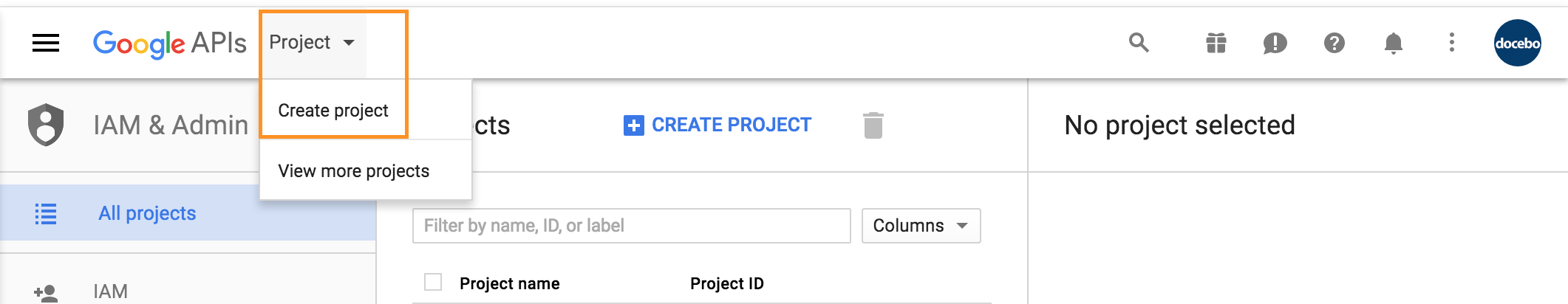 google drive create project