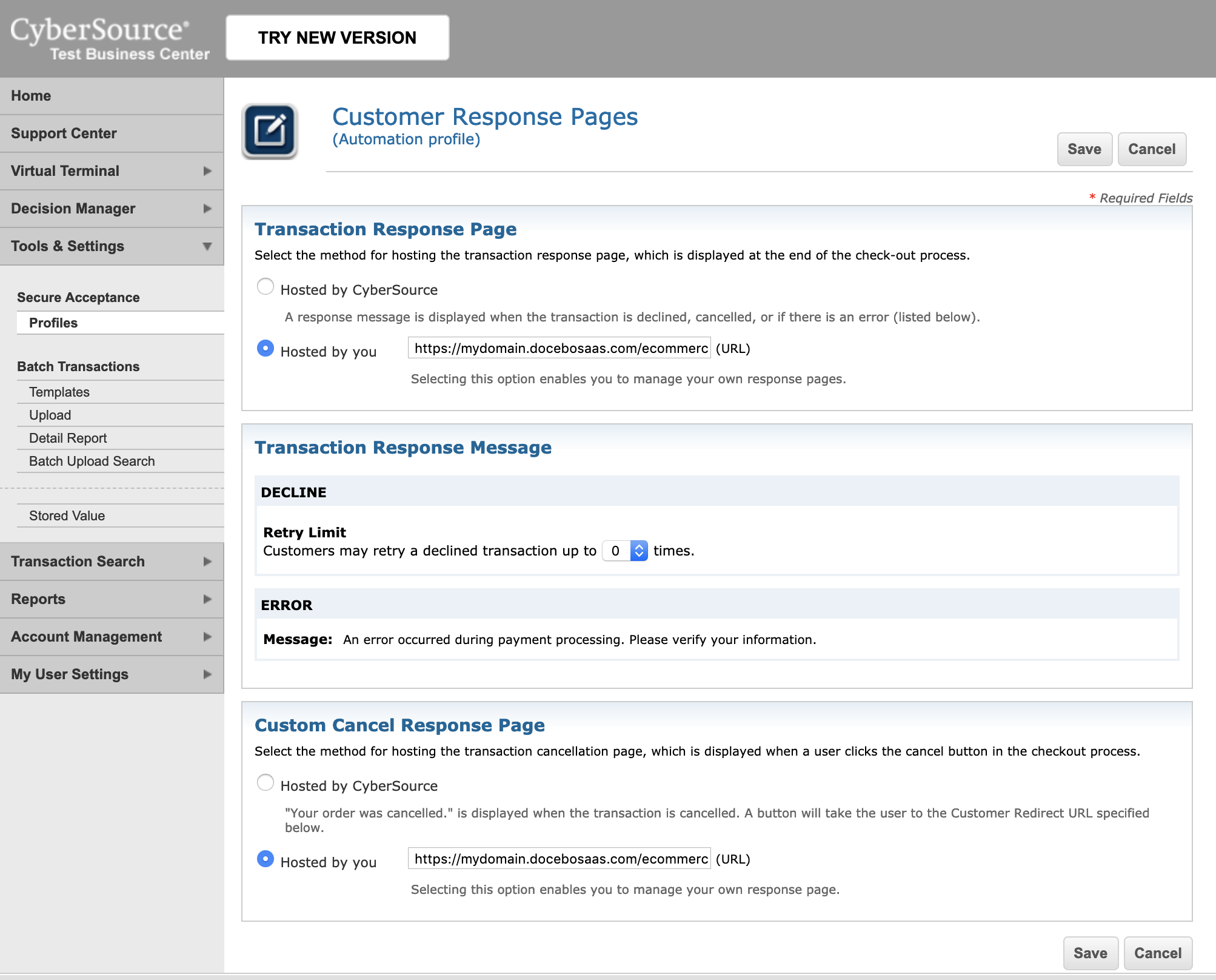 cybersource customer response pages