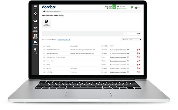 Certificación y reentrenamiento con Docebo LMS