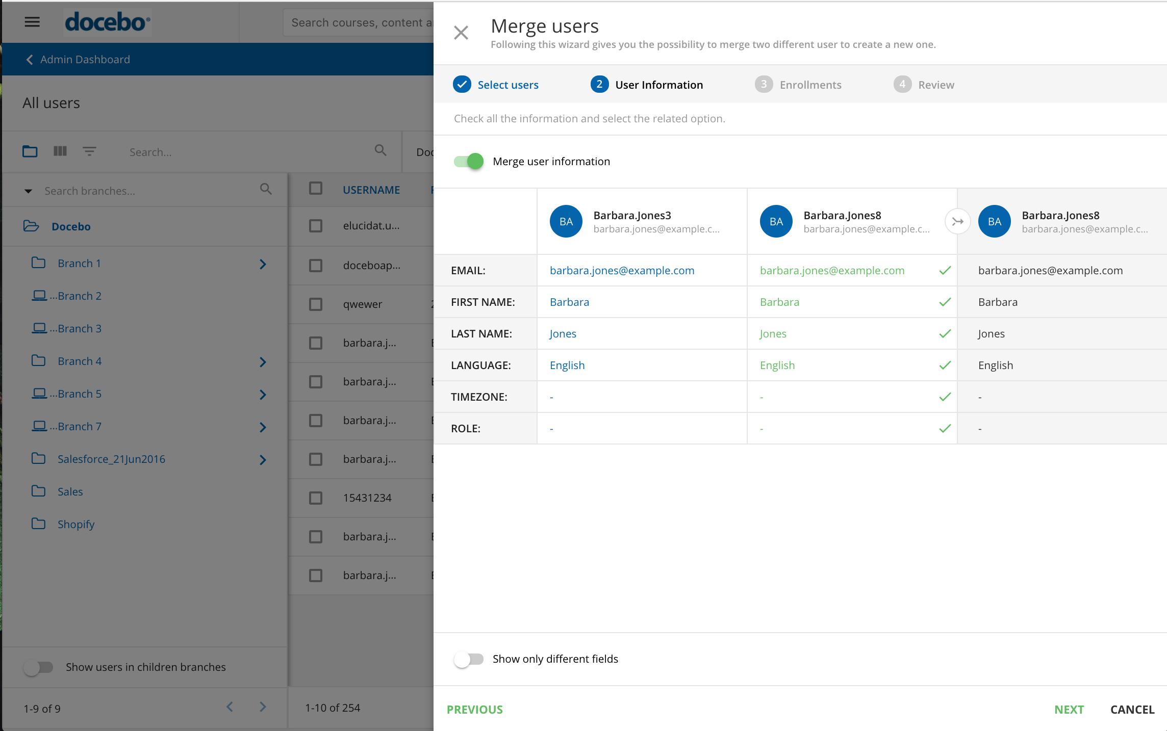 merge users select data