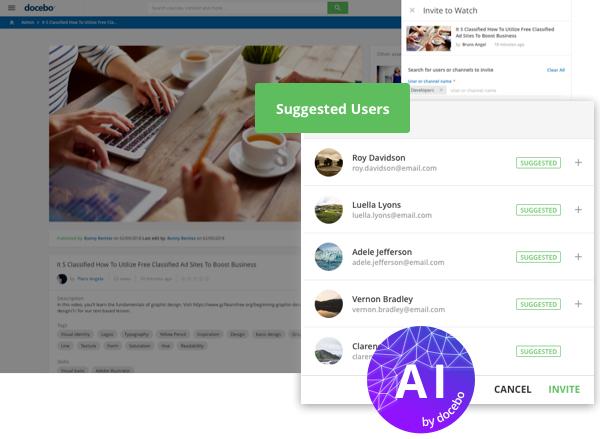 Docebo Coach & Share - L'IA ti aiuta a catturare le conoscenze generate dagli utenti per condividerle all'interno dell'organizzazione
