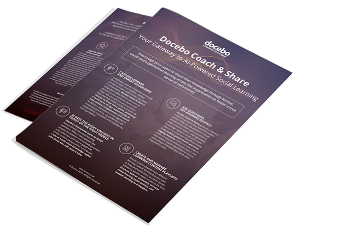 Docebo Coach & Share enables organizations to leverage the 70/20/10 model for its learning and development needs.