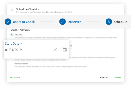 Observation Checklists allow admins and managers to observe and document learner progress.